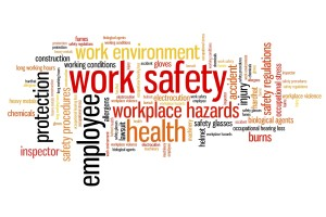 Work safety issues and concepts word cloud illustration. Word collage concept.